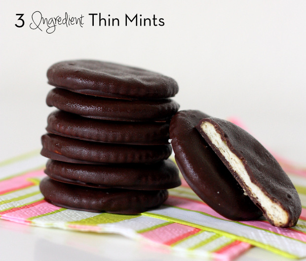 3 ingredient Thin Mint Cookies -- the secret is Ritz crackers! It sounds weird, but they taste just like the real ones.