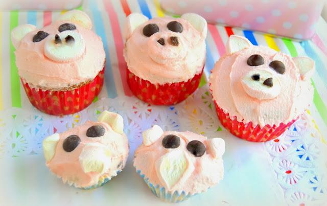 Cup cakes, magdalenas, decoradas de animalitos, gallinas, cerditos y ovejas. Fáciles, rápidos, para hacer con niños, ideales para fiestas de cumpleaños