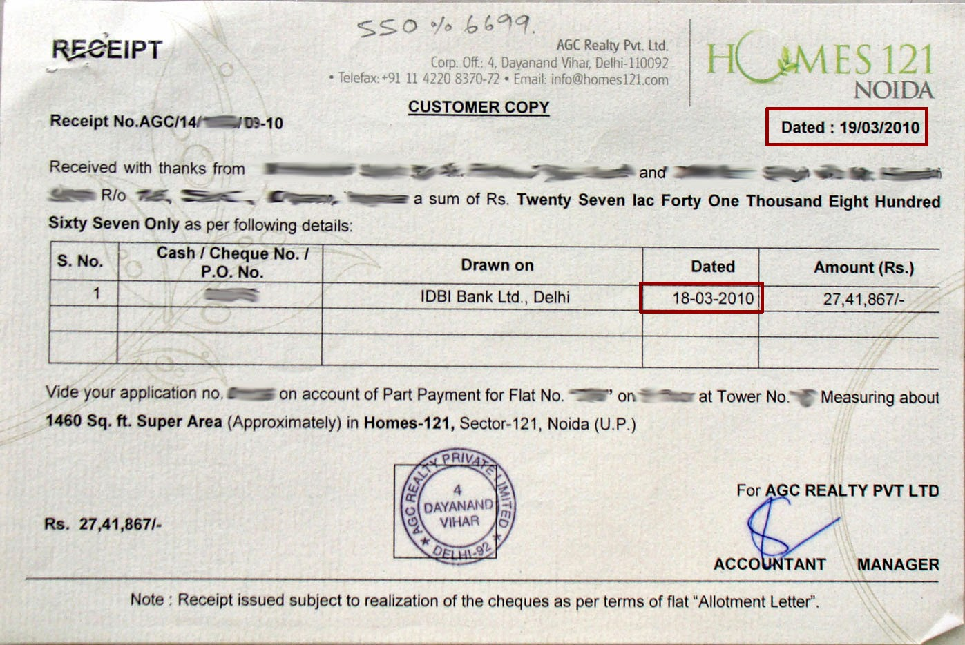 Receipt of Payment Letters