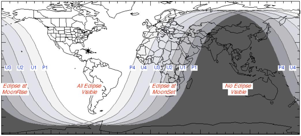 Ngày và đêm vào lúc xảy ra nguyệt thực ngày 21/1/2019. Việt Nam sẽ không quan sát được lần nguyệt thực toàn phần này. Đồ họa : NASA.