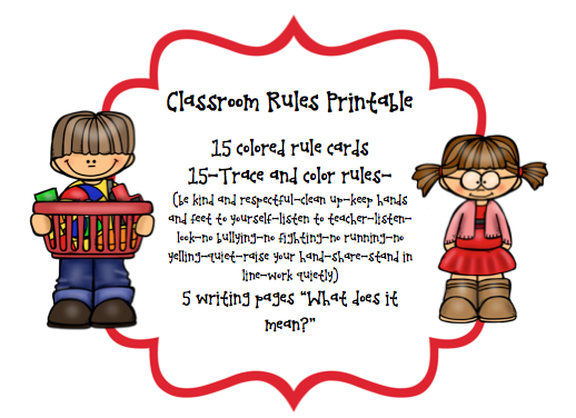 It is a picture of Challenger Kindergarten Classroom Rules Printable