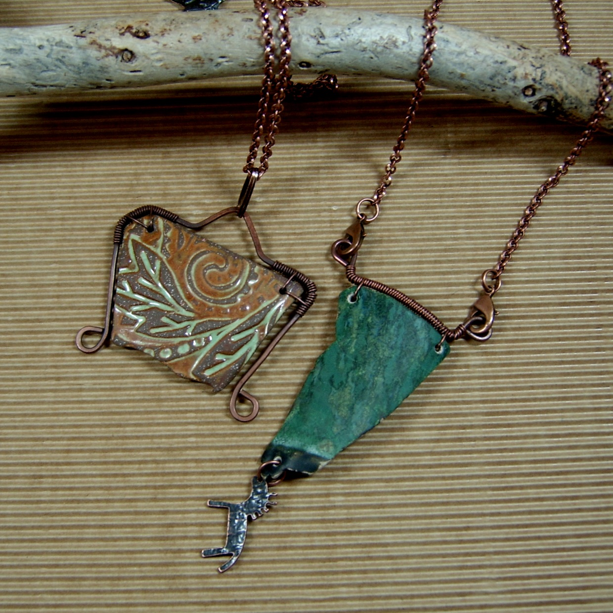 Wire Wrapped Shard Pendant Necklaces