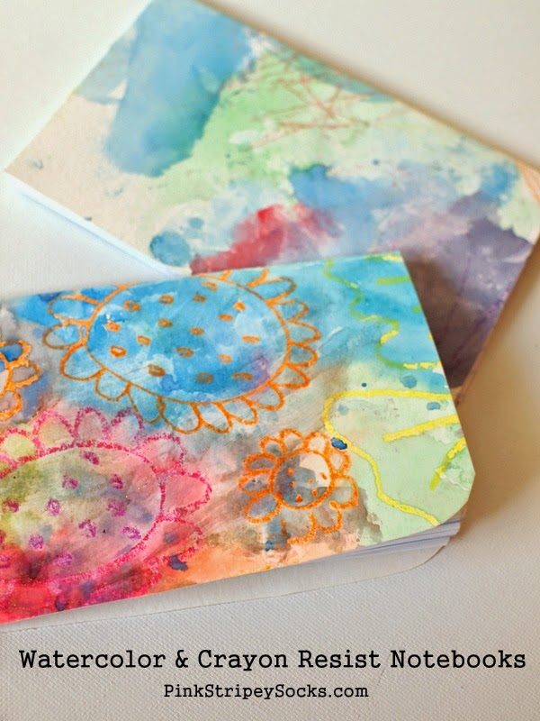 watercolor and crayon resist notebooks