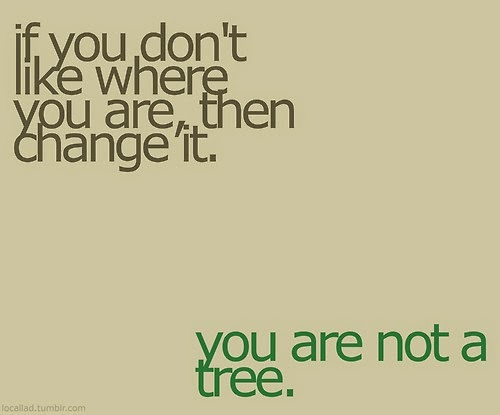 if you don't like where you are, quotes, you are not a tree
