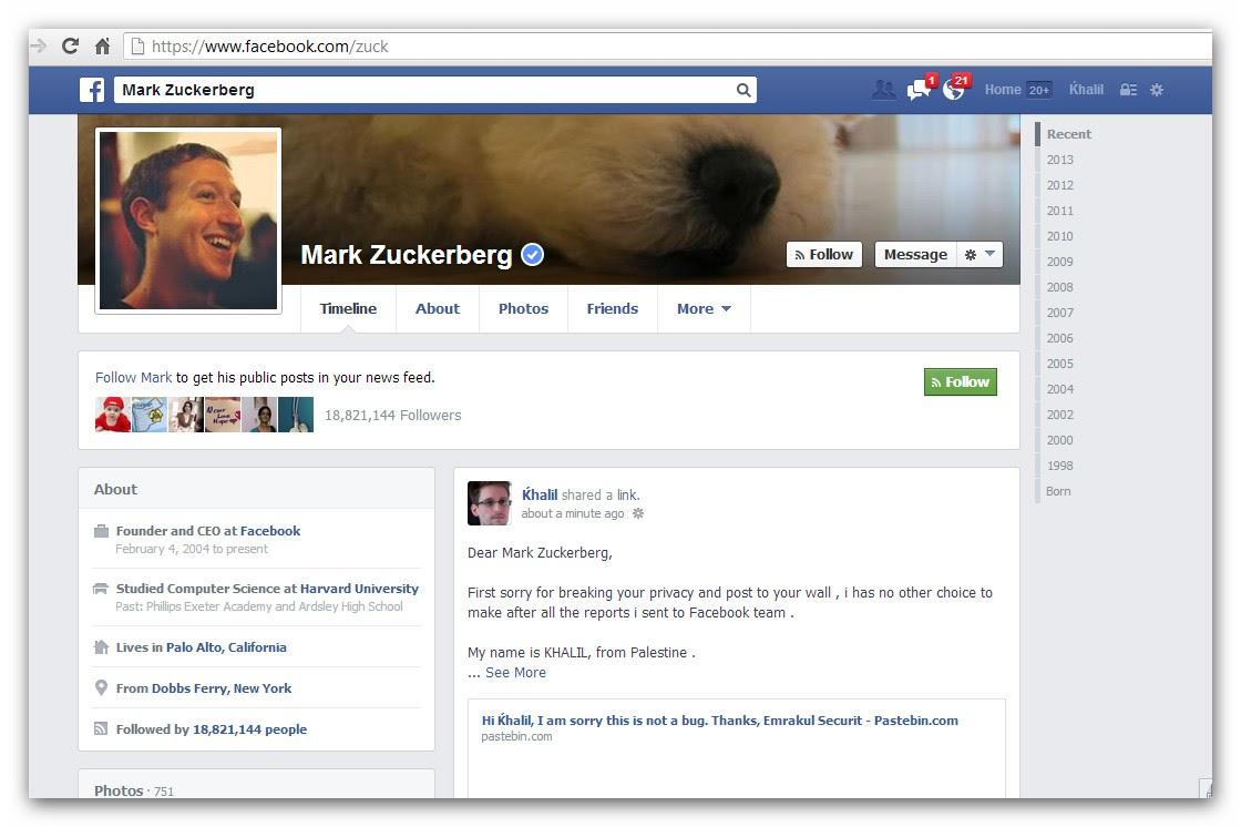 Perfil de Mark Zuckerberg cofundador de Facebook