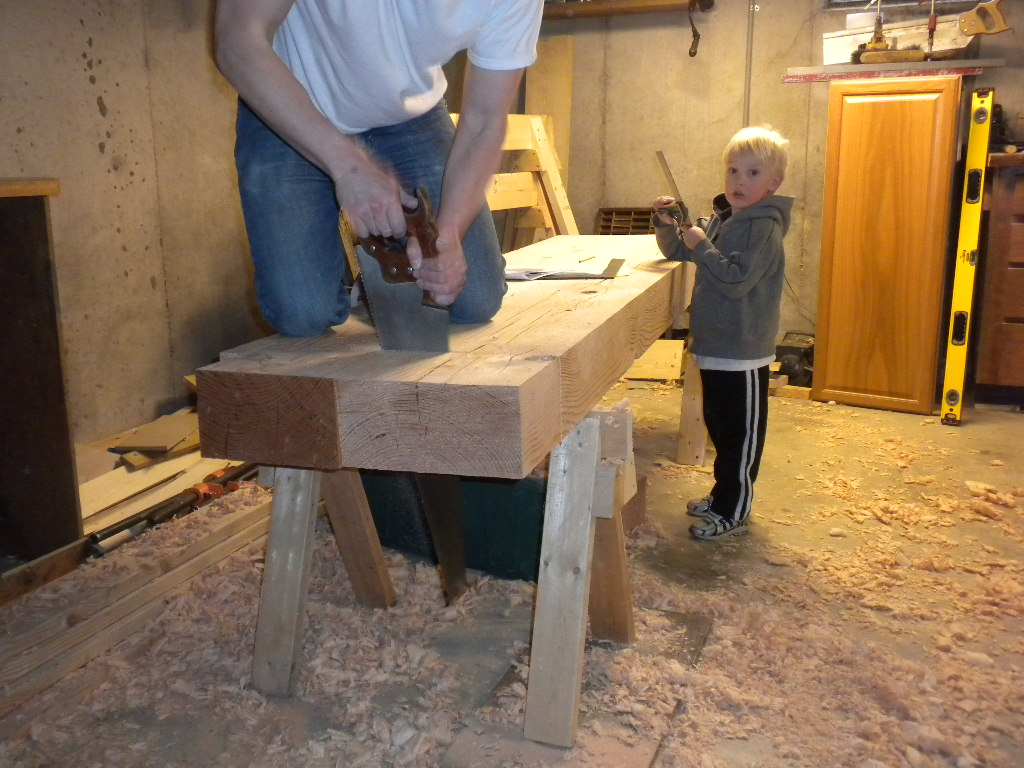 Beautiful SYP SpiltTop Roubo Workbench 3 Mostly Finished Tail