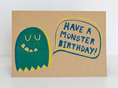 Monster Birthday screen printed card by Welaughindoors