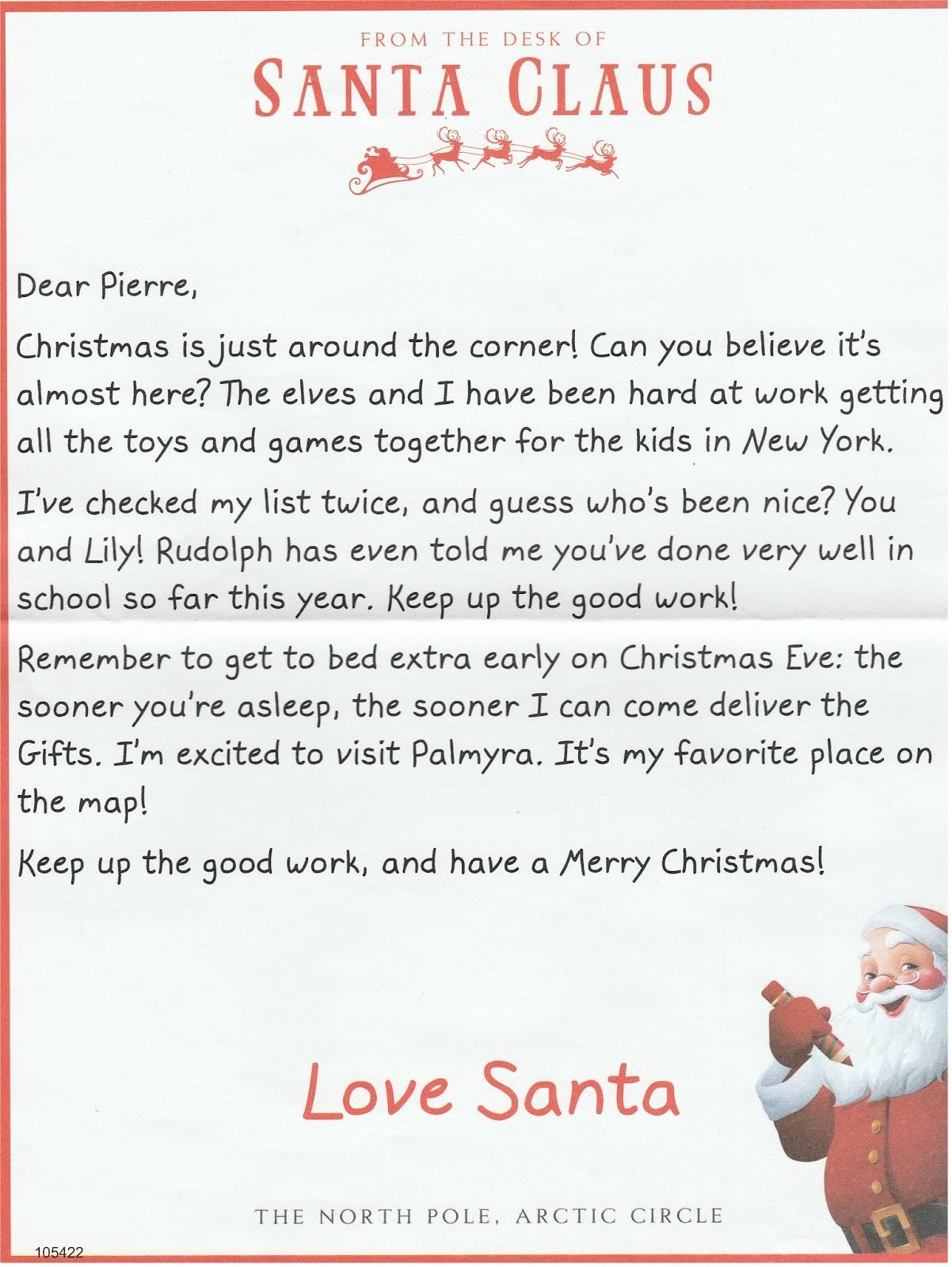New york state of mind pierre39s quotthe barkquot santa letter for Nice list santa letter