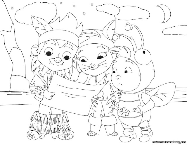 Zigby And Friends Riding Canoe Coloring Page Jake And The Neverland Coloring Pages To Print
