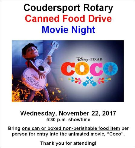 11-22 Coudersport Rotary Canned Food Drive Movie Night
