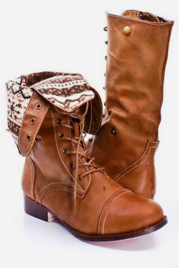 Gorgeous Taupe Faux Leather Lace-up Fold Over Combat Boots