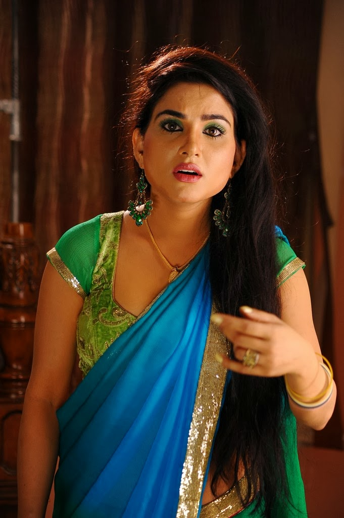 Kavya Singh in Blue Saree Kavya Singh Saree Photos Kavya