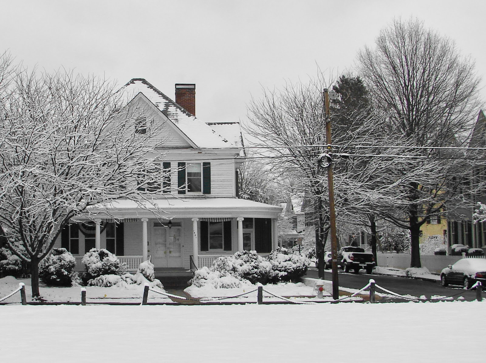 snow covered house - photo #16