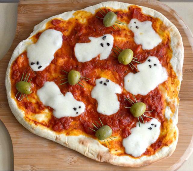 halloween, spooky ghost pizza