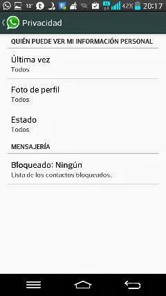 Configuración de privacidad en Whatsapp.
