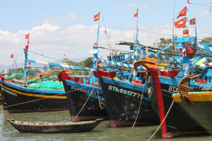 Boats on a river in Phan Thiết city