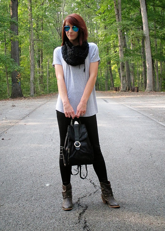 Over-sized tee, leather leggings, ankle boots, knit infinity scarf
