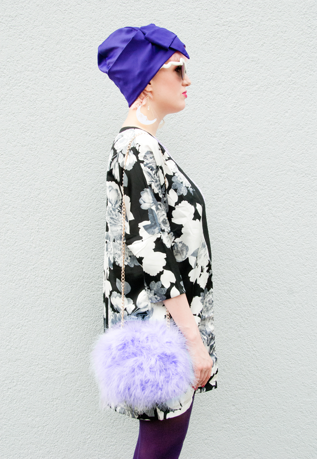 Rare London, flower print jacket, fluffy marabou feather bag