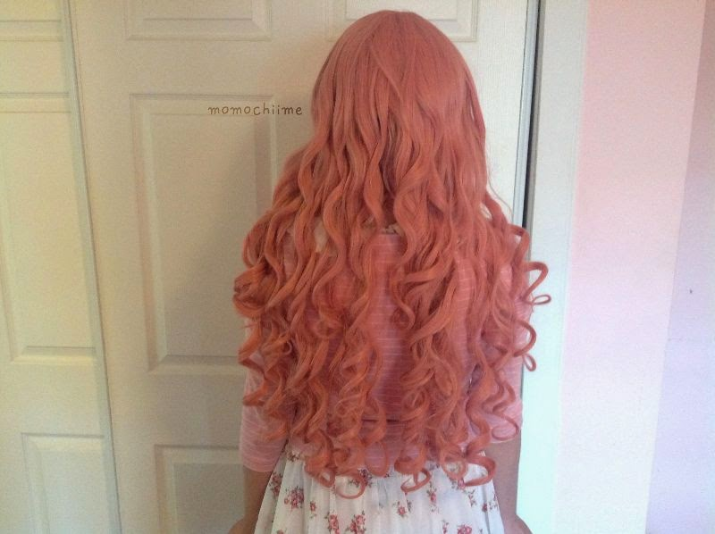 Peachy Pink Long Wig with Seductive Curls: Vocaloid Luka A Cosplay Wig