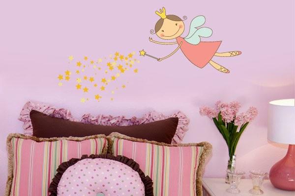 Adesivo de parede infantil e papel de parede Decorando o  ~ Adesivo De Parede Para Quarto Infantil Barbie