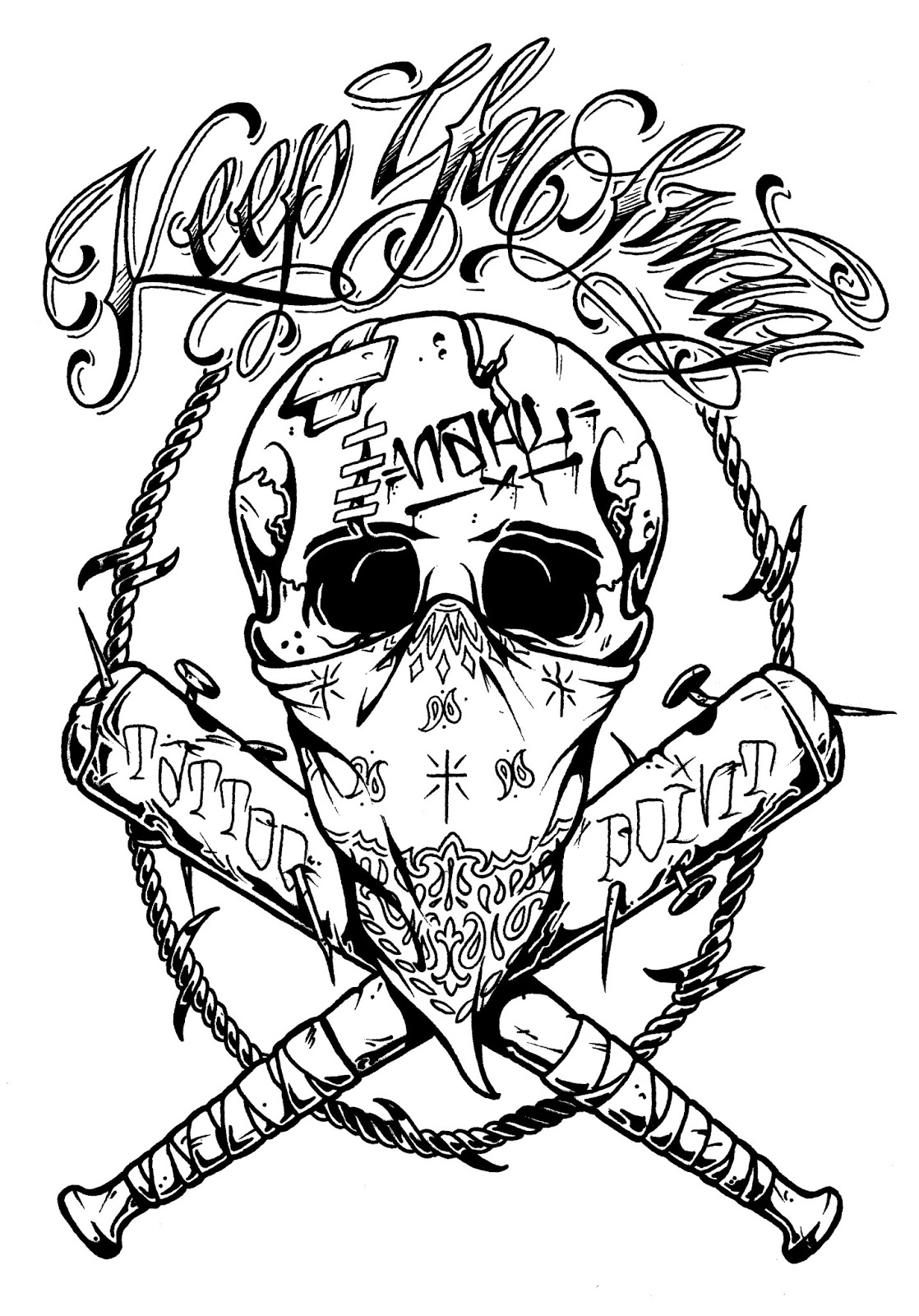 Skull with Bandana Tattoos