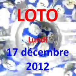 boules du LOTO - tirage du lundi 17 décembre 2012