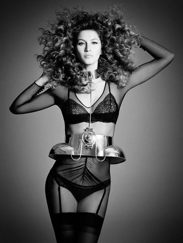Gisele Bundchen wearing lingerie in Fall 2012 issue of  i-D Magazine