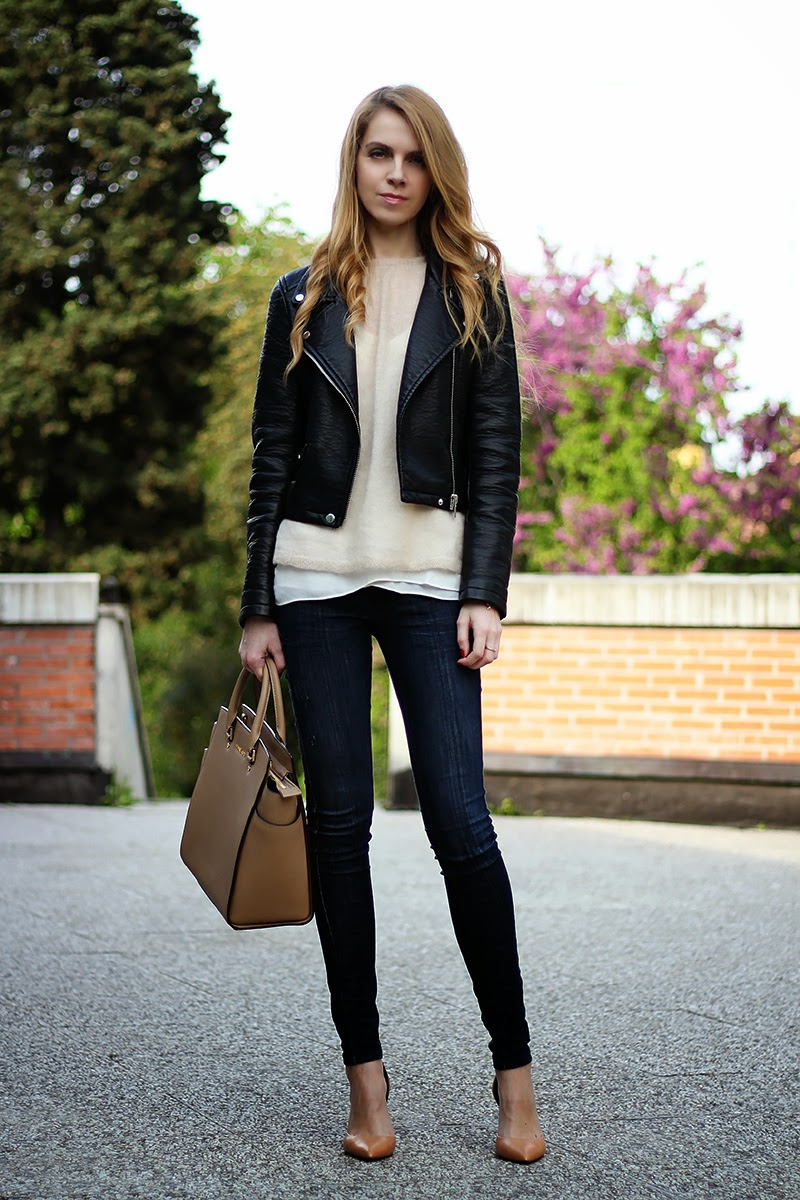 leather moto jacket, pastels, Michael Kors Selma Satchel, nude heels