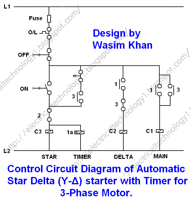 Control diagram of Automatic star-delta starter