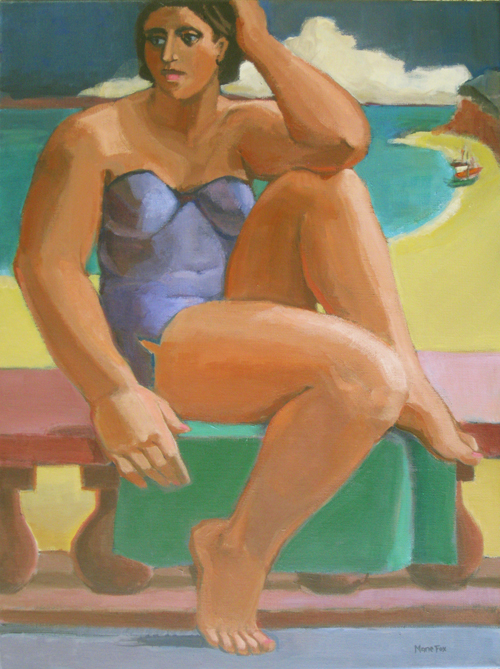 Green Towel Figurative Painting Paintings Of Women Woman At Beach Figuration Female Figures In Art Marie Fox Oil