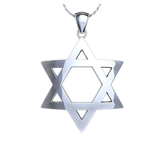 Star of David Pendant White gold