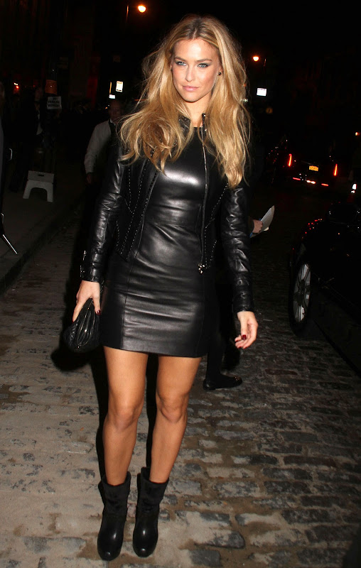 Bar Refaeli wearing black leather outfit