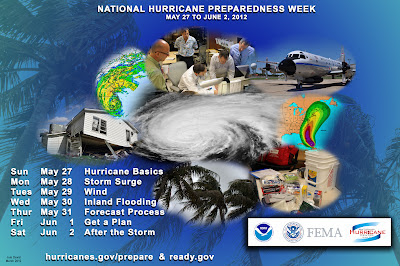 Poster for National Hurricane Preparedness Week listing the dates & themes for the week of observation.