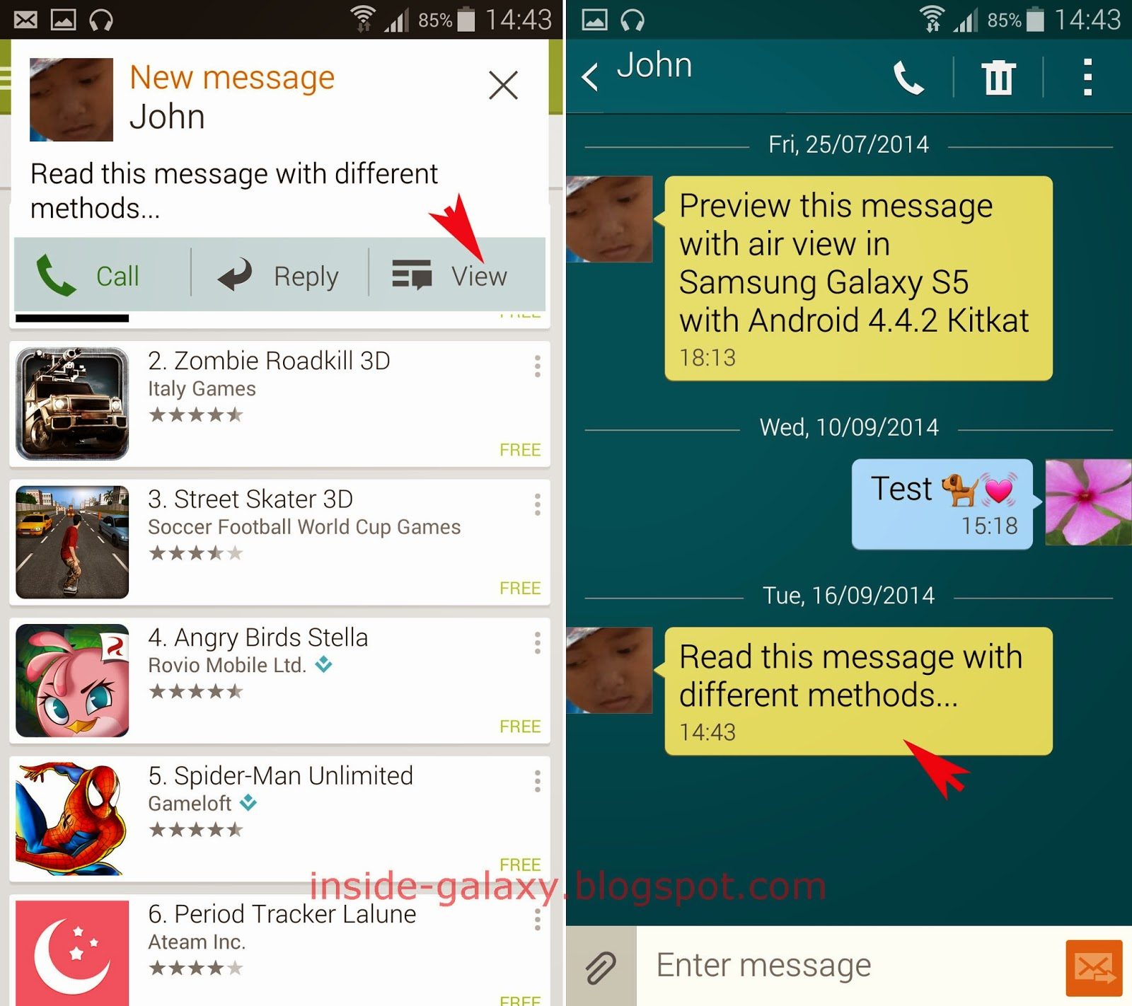 Inside Galaxy: Samsung Galaxy S5: How to Read New Text Messages in ...