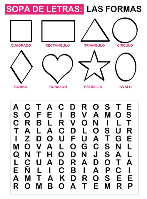 Dibujos para Colorear: Sopa de letras para niños