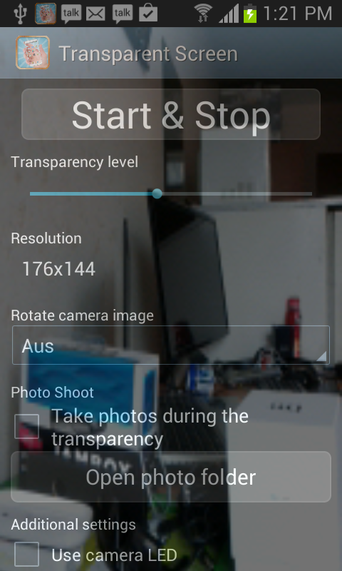 how to make android screen transparent