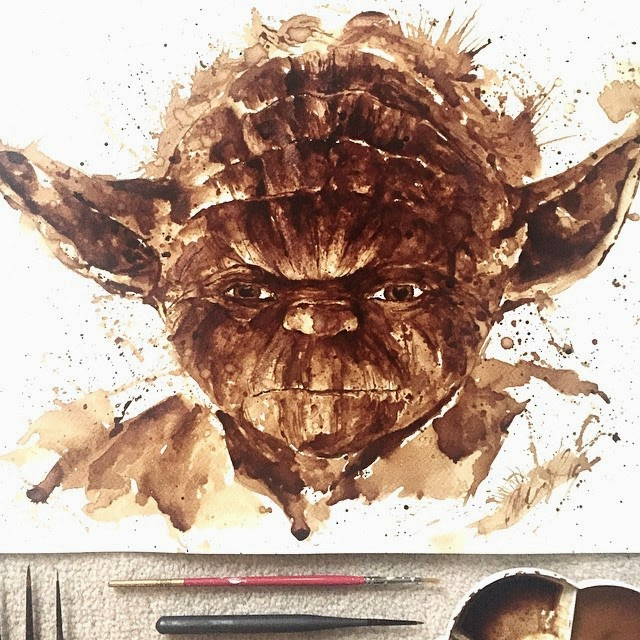 06-Yoda-Star-Wars-Maria-A-Aristidou-Pop-Culture-Painted-with-Coffee-www-designstack-co