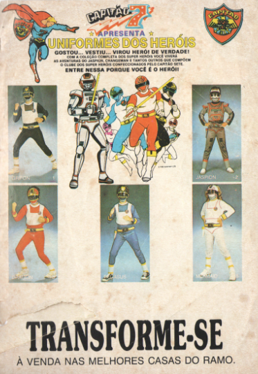 Loja Capitão 7, uniforme dos heróis, diretamente de 1990. Jaspion, Changeman.