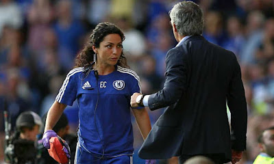 Chelsea's doctor Eva Carneiro exchanges views with José Mourinho towards the end of Saturday's 2-2 draw with Swansea City at Stamford Bridge.