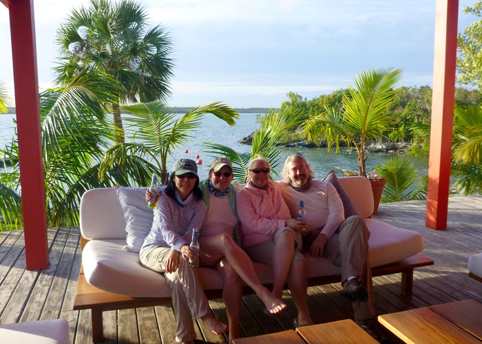 Hyun, Kat, Shannon, Doug at Abaco Lodge after first day bonefishing.