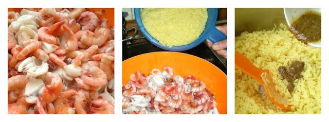 Insalata di riso e frutti di mare allo zafferano gli step
