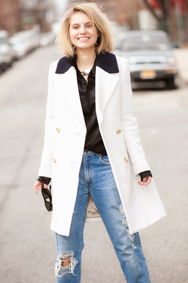 J.Crew white coat, Fashion Over Reason candid moment, photo by Ian Rusiana