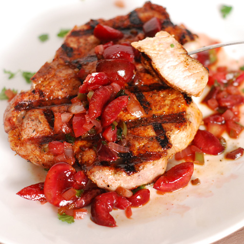 grilled pork chops with flaming cherry salsa, big green egg pork chops