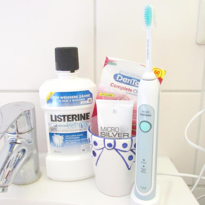 Philips Sonicare HealthyWhite Zahnbürste & Zahnpflege Routine Listerine, DenTek, Microsilver