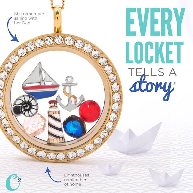 Nautical Theme Gold Origami Owl Living Locket | Come create yours today at StoriedCharms.com