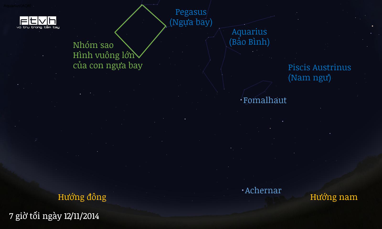 Minh họa bầu trời hướng đông nam vào lúc 7 giờ tối ngày 12/11/2014. Bảo Bình đang đổ nước để dập tắt ánh sáng của Ngôi sao cô đơn.