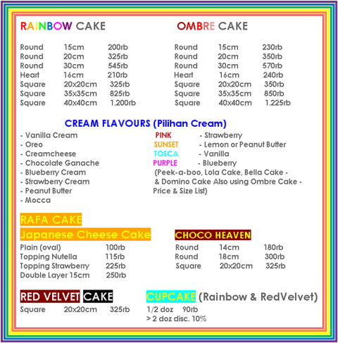 Below are the infos of our shapes,sizes, flavours and prices :)