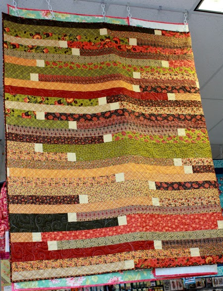 Fall colored Jelly Roll Race quilt
