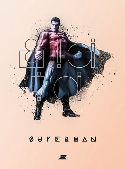 Josip Kelava typographic illustrations super heroes villains comics games movies Kal El Superman