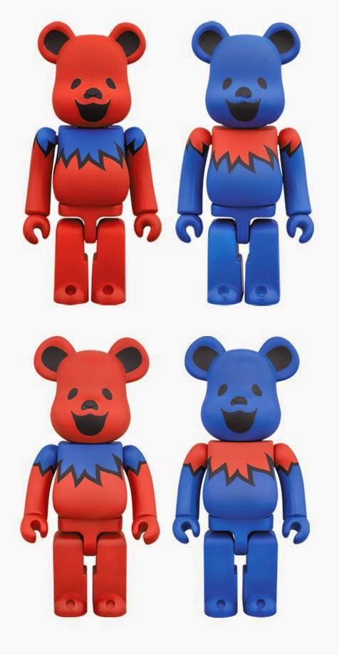 "Grateful Dead Red & Blue ""Dancing Bears"" 100% & 400% Be@rbrick Vinyl Figure by Medicom"